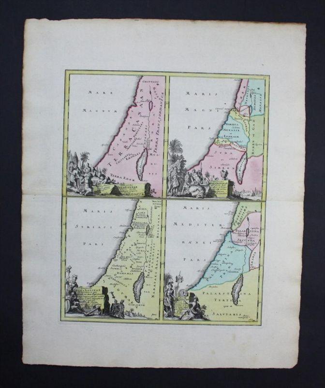 Israel Palestine Palästina Karte map engraving Kupferstich
