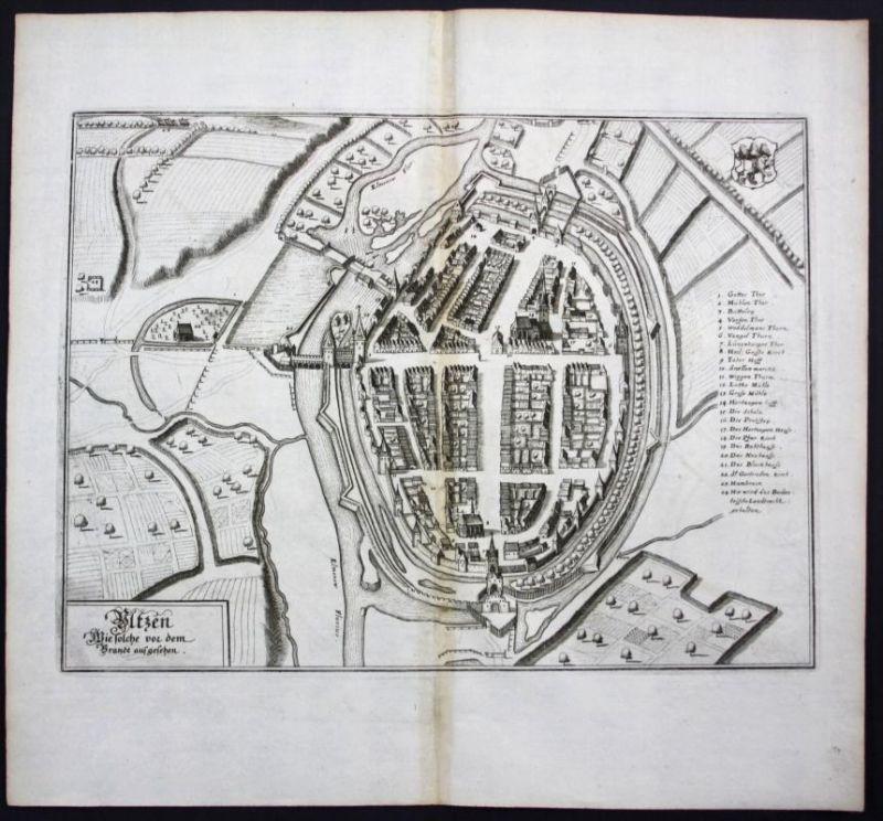 Uelzen / Stadtplan - Gesamtansicht - Karte Kupferstich Merian