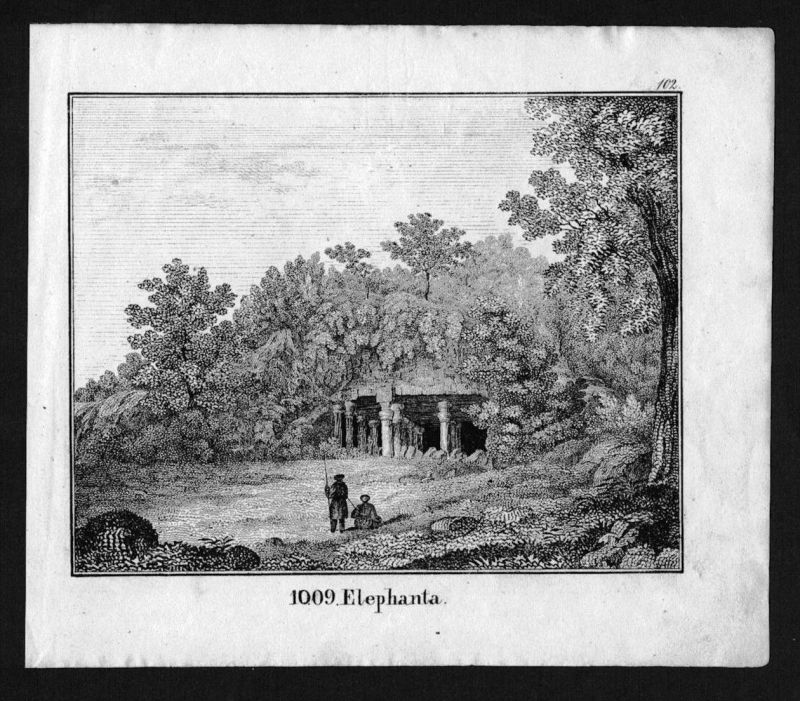 Elephanta island India Indien Lithographie Lithograph