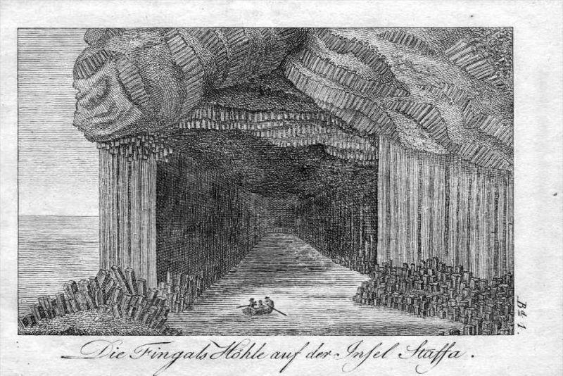 Fingals Höhle Cave Staffa Insel Scotland Schottland engraving Kupferstich