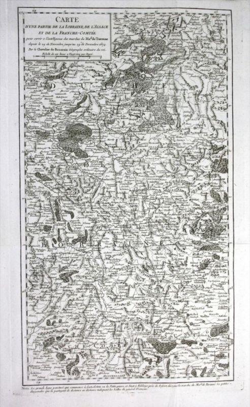 Lorraine Alsace Lothringen Elsass Turenne gravure Kupferstich Karte map
