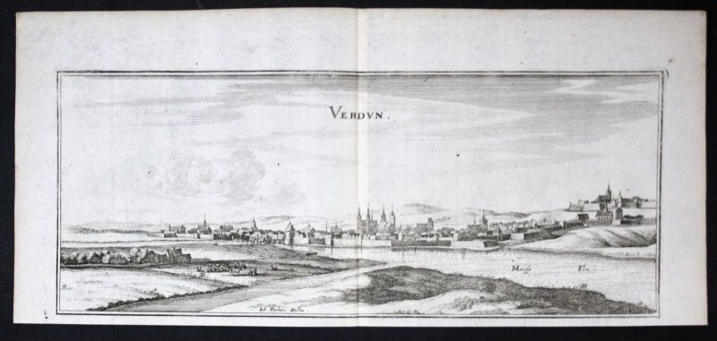 Verdun Meuse gravure estampe Kupferstich Merian engraving