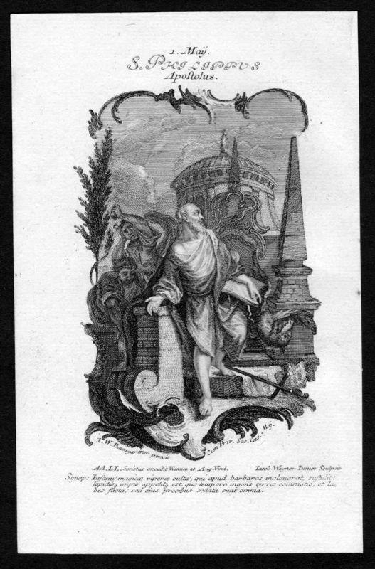 Heiliger Philippus Apostel 1. Mai may - Kupferstich Heiligenbild Holy Card