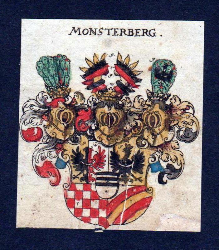 Monsterberg Wappen Adel coat of arms heraldry Heraldik Kupferstich
