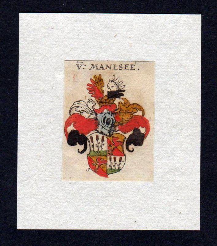 17. Jh Manlsee Wappen coat of arms heraldry Heraldik Kupferstich
