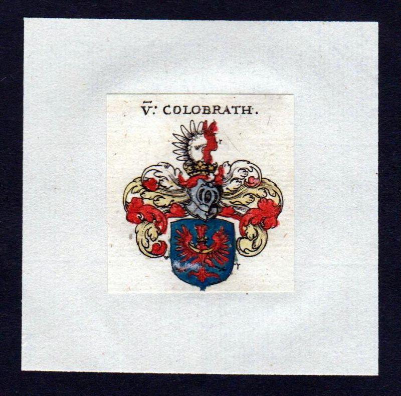 17. Jh von Kolobrath Wappen Adel coat of arms heraldry Heraldik Kupferstich