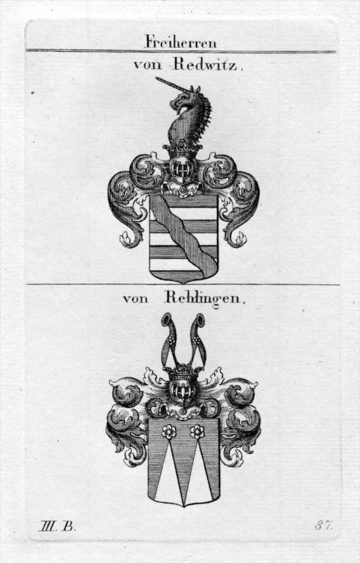 Redwitz Rehlingen - Wappen Adel coat of arms heraldry Heraldik Kupferstich
