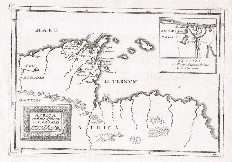 Carthago Tunisia Tunis Africa map Karte Kupferstich Duval Afrika carte