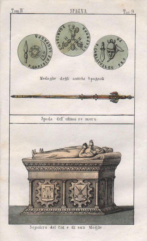 Spanien Spain Espana Grab sepulcro coin costumes Trachten Lithographie