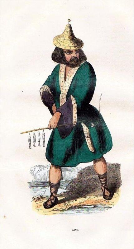 Ainu Japan Asia Asien Trachten Holzstich costumes antique print