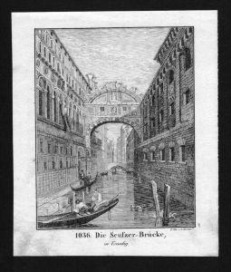 Venezia Venedig Ponte dei Sospiri Venice Lithographie Lithograph