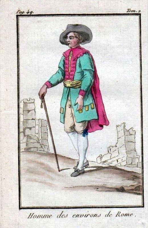 Rom Rome Roma Italia Mann uomo Trachten costumes Original Kupferstich