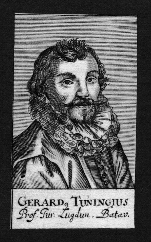Gerhard Tuningius Jurist lawyer Leiden Holland Kupferstich Portrait