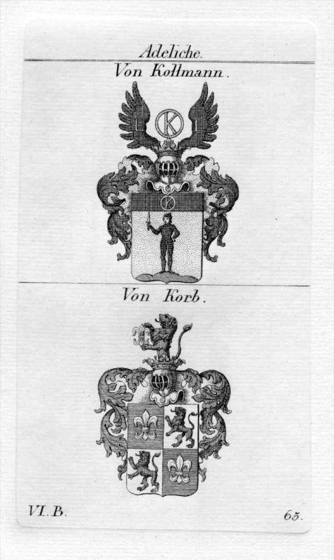 Von Kollmann / Von Korb / Bayern - Wappen coat of arms Heraldik heraldry Kupferstich