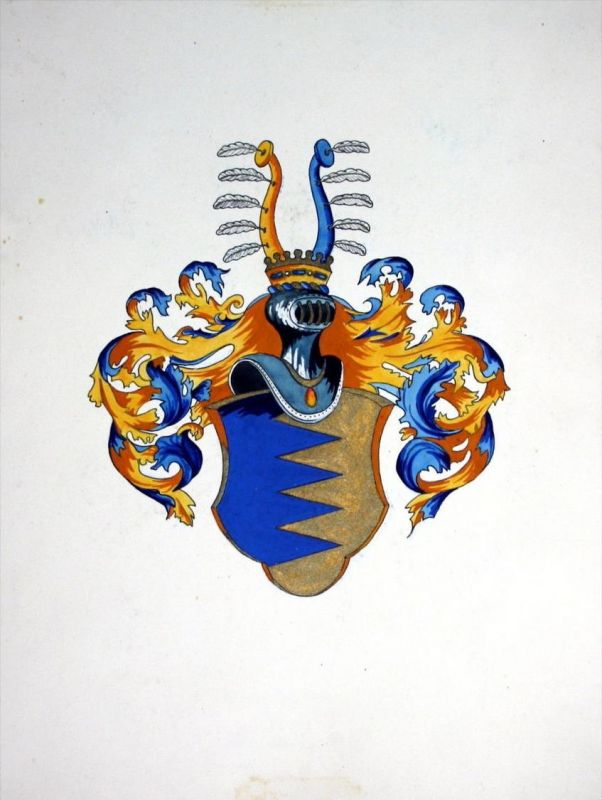 Ebner-Eschenbach Wappen coat of arms original Zeichnung Aquarell drawing