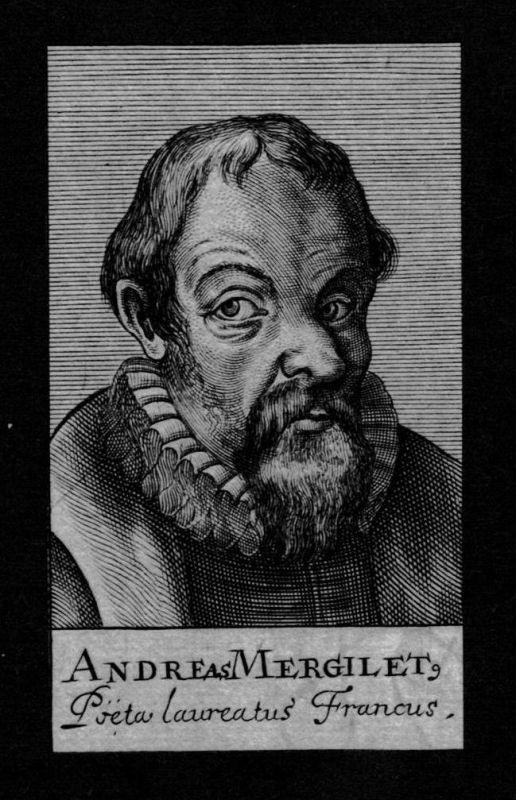Andreas Mergilet Dichter poet Frankreich France Kupferstich Portrait