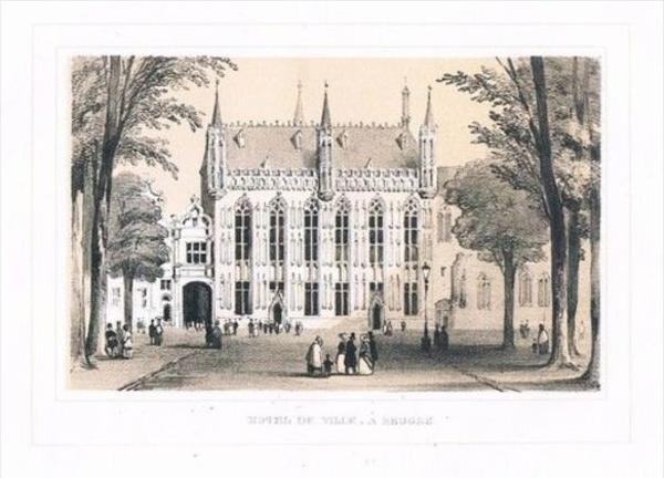 Bruges Brugge Hotel de Ville Lithographie lithograph