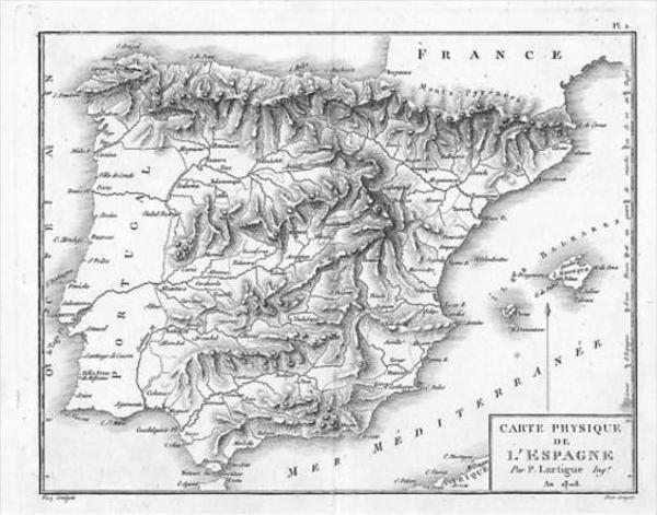Espana Spain map carta Original Kupferstich