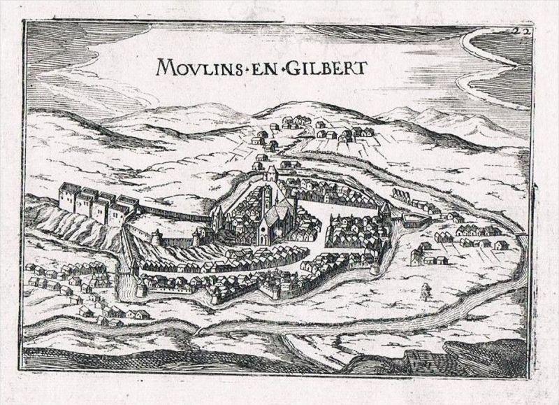 Moulins-Engilbert Nievre Burgund view gravure Kupferstich Tassin