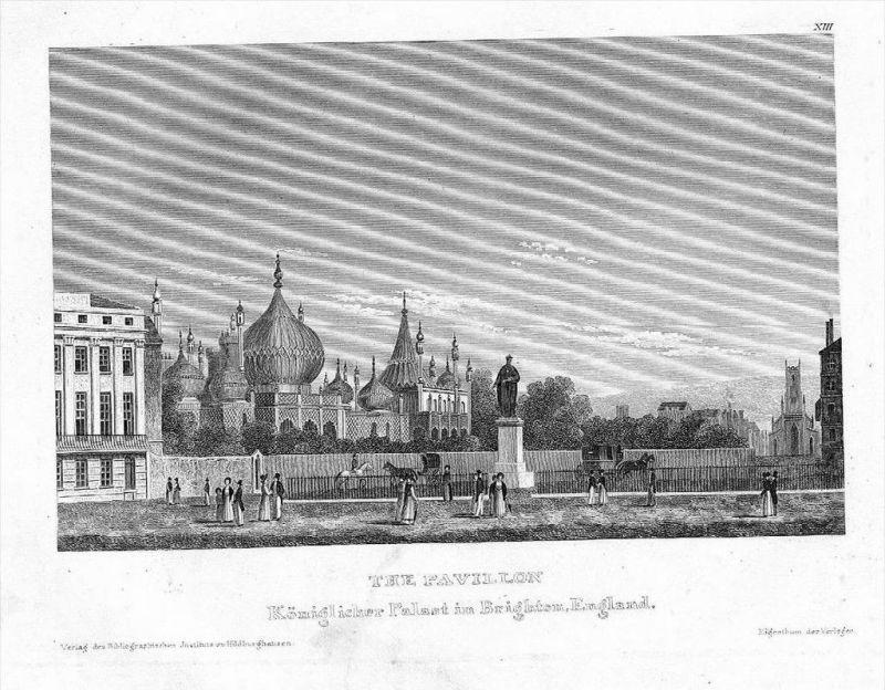 Brighton Tea-Pavillon Original Stahlstich
