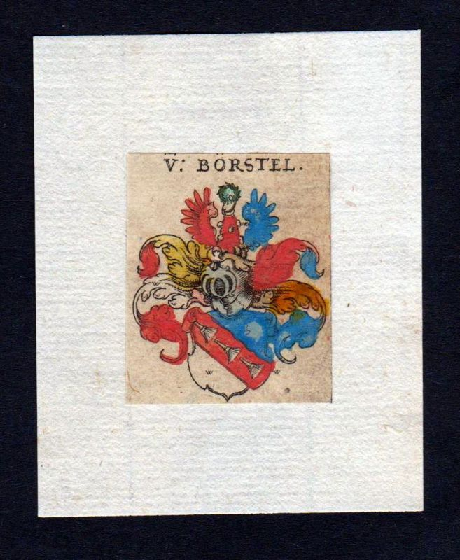 17. Jh Borstel Wappen coat of arms heraldry Heraldik Kupferstich