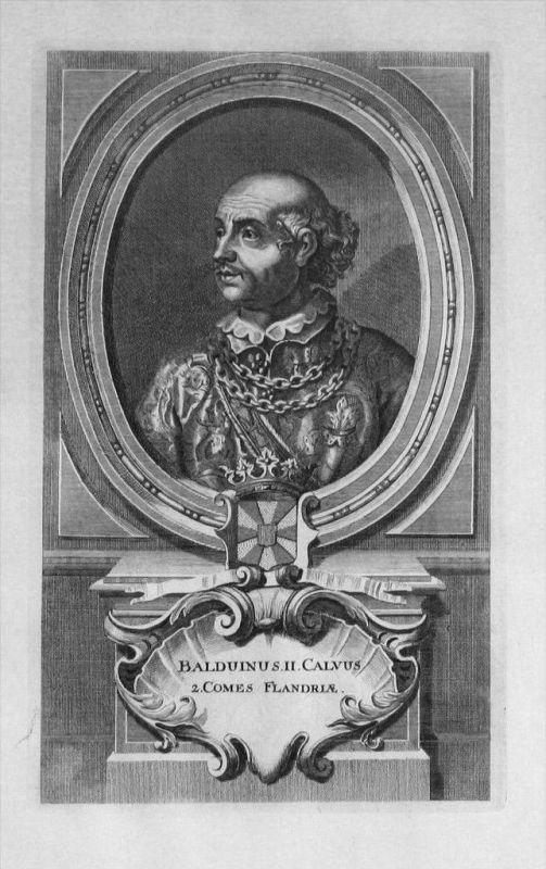 Balduin II. von Flandern Flandre Portrait gravure engraving Kupferstich