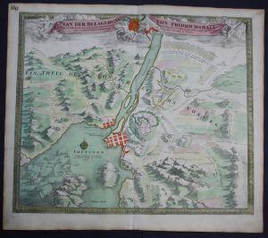 Fredrikstad Norway Norwegen siege battle Belagerung map Karte Homann Kupfer