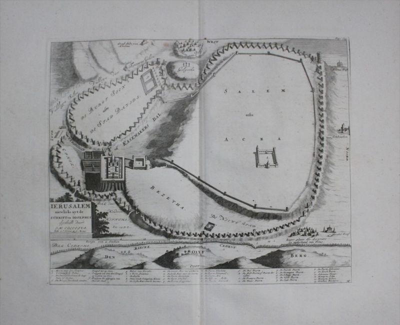 Jerusalem Israel plan map Karte Judaica Juden jews engraving Kupferstich