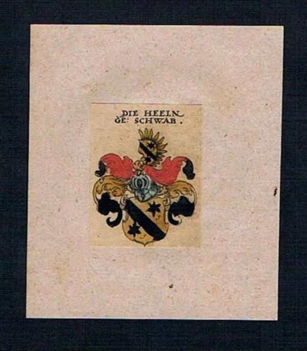 . - Heeln Schwab Wappen Kupferstich Heraldik coat of arms crest heraldry