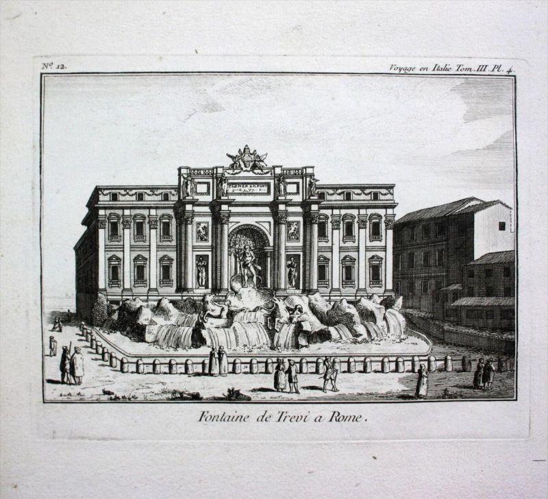 Roma Rome Rom Fontana di Trevi Kupferstich Lalande acquaforte veduta