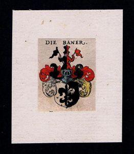 . - von Baner Wappen Adel coat of arms heraldry Heraldik  Kupferstich