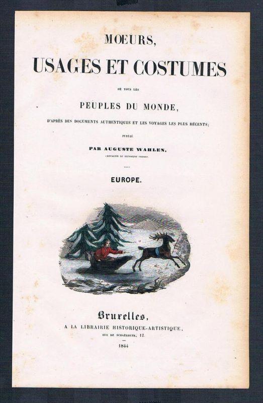 Titel title peuples du monde costumes Trachten antique print