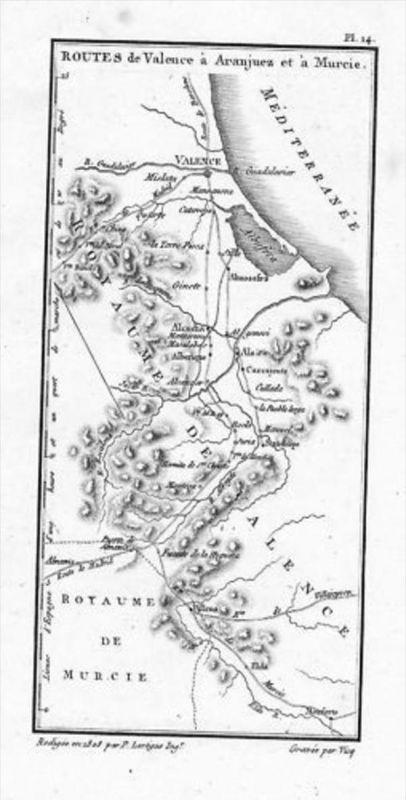 Valencia Aranjuez Murcia Espana map Kupferstich
