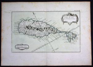 Saint Kitts island Lesser Antilles Bellin handcolored antique map