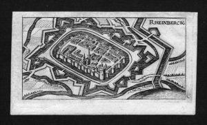 Rheinberg Stadtplan Gesamtansicht Kupferstich Riegel