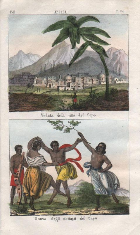 - Cape Town South Africa view people costume Lithograph natives Negro