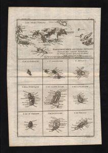 Virgin Islands Barbados Tobago Antilles map Karte Kupferstich engraving