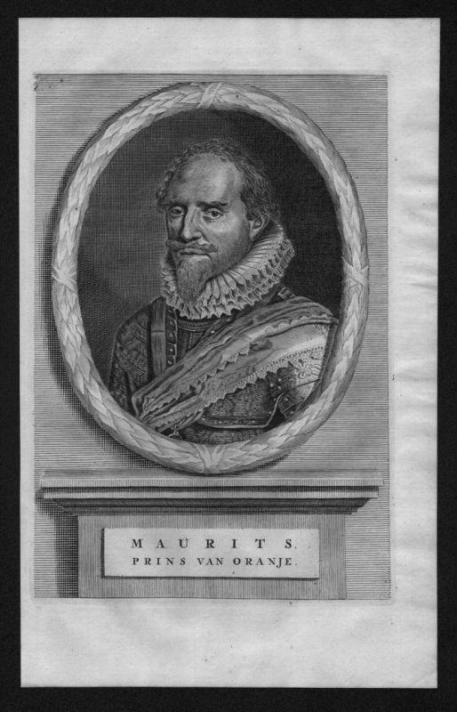 Moritz von Oranien Nassau Dillenburg Portrait Kupferstich Maurits Oranje