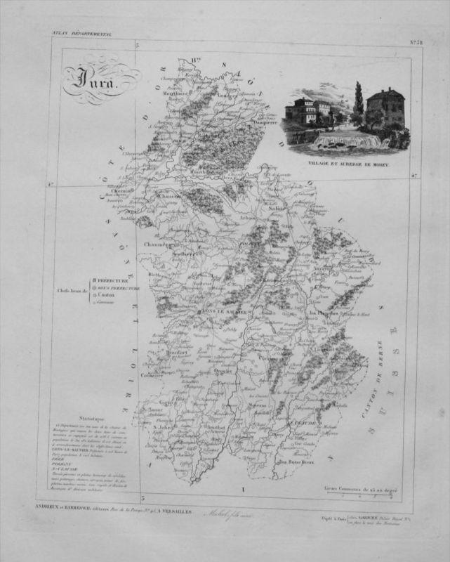 Departement Jura carte gravure Kupferstich Karte map France Frankreich