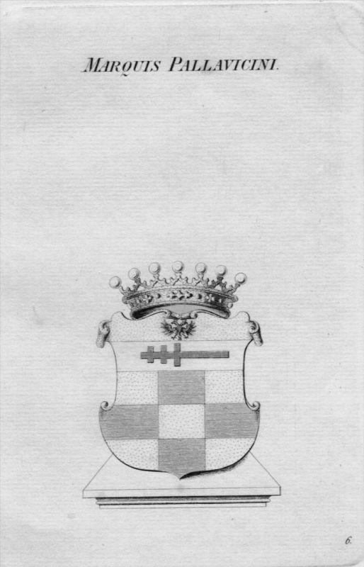 Pallavicini Wappen Adel coat of arms heraldry Heraldik crest Kupferstich