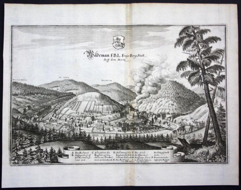 Wildemann / Oberharz / Harz - Gesamtansicht - Karte Kupferstich Merian