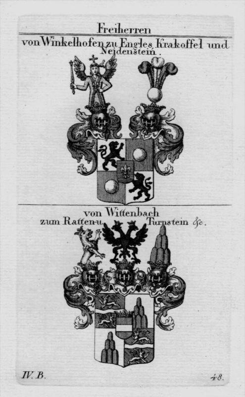 Winkelhofen Wittenbach Wappen Adel coat of arms Heraldik crest Kupferstich