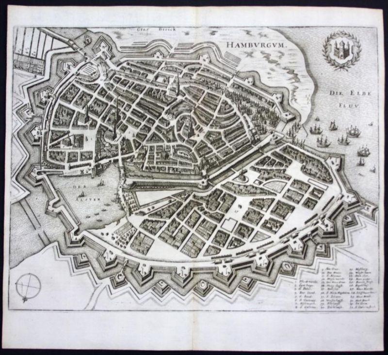 Hamburg / Stadtplan - Gesamtansicht - Karte Kupferstich Merian