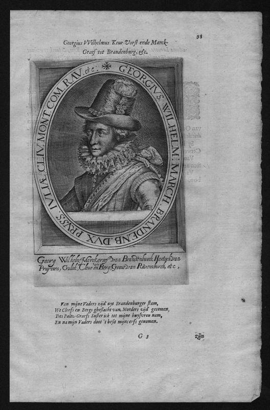 Georg Wilhelm Kurfürst Brandenburg Preußen Herzog Portrait Kupferstich