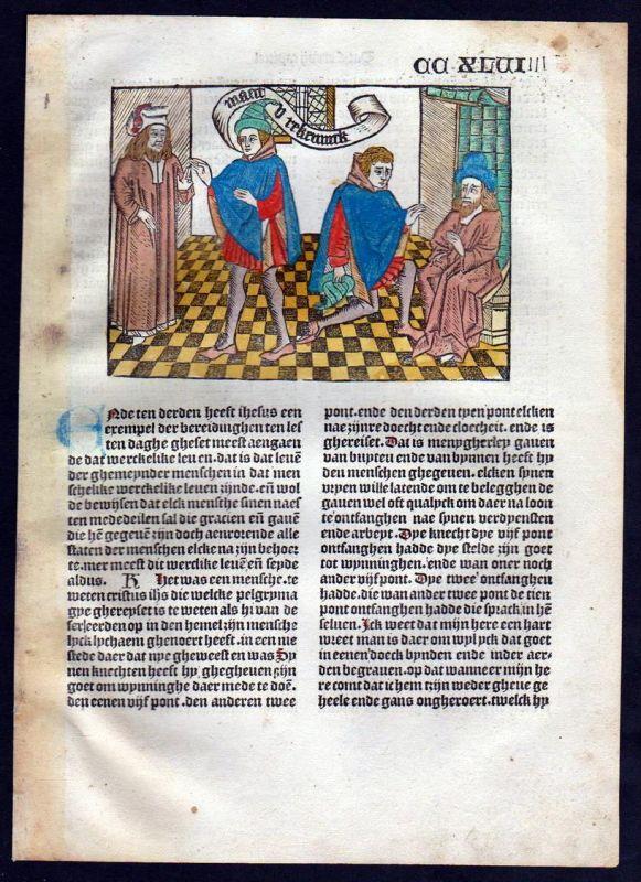 Blatt CCXLVI Inkunabel Vita Christi Zwolle Holzschnitt woodcut incunable Dutch