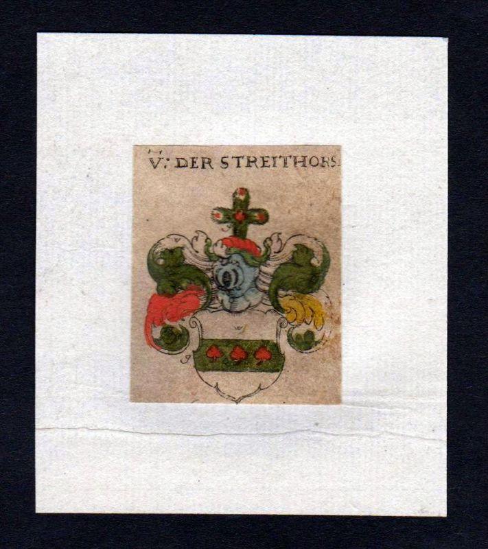 17. Jh von der Streithorst Wappen coat of arms heraldry Heraldik Kupferstich