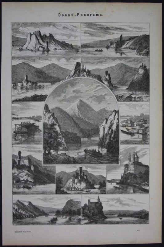 Donau Panorama Ansichten Holzschnitt antique print