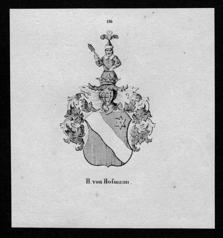von Hofmann Wappen Adel coat of arms heraldry Heraldik Lithographie