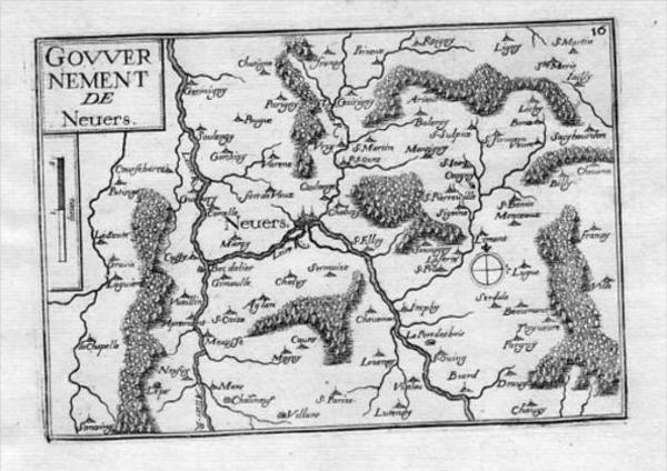 - Nevers Nièvre Bourgogne Gravure Tassin estampe antique
