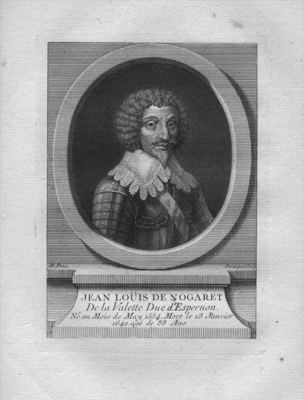 Jean Louis de Nogaret de La Valette Herzog Militär Kuperstich Portrait